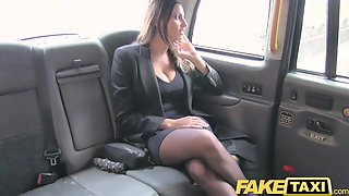 Fake Taxi Sexy Breasty Honey Gets Giant Cum Discharged Over Her Melons