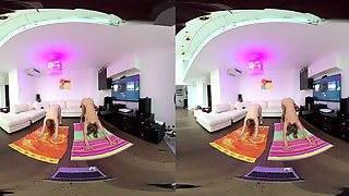 VR180 Vr Clip Miss_pussycat And Riki Doing Afternoon Nude Yoga Jointly