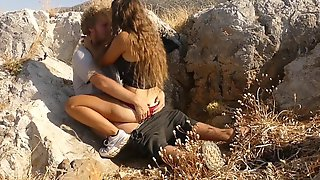 Sexy Teen Pair Have Public Sex Above The Busiest Beach Of A Greek Island