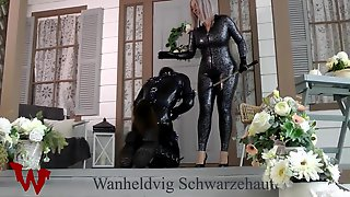 LATEX FEMALE-DOM PLAY WITH PUPPY