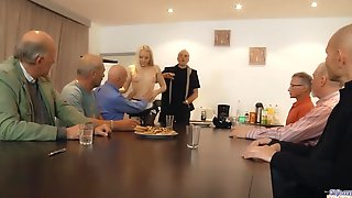 Hawt Teen Waitress Is Group-fucked By A Group Of Grandpas At The Office