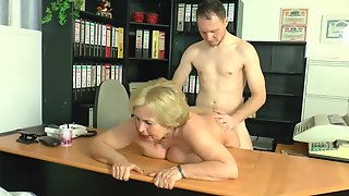 Impure Minded, German Granny Is Sucking A Younger Studs Knob During The Time That Still At Work And Getting Drilled