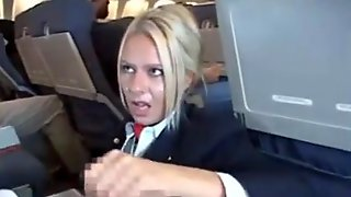Golden-Haired Stewardess, Riley Evans Is Rubbing A Clients Weenie On Her 1st Working Day In The Plane