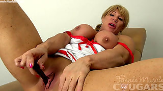 Magnificent Bare Muscle Cougar Showcases Off Her Enormous Swollen Clit
