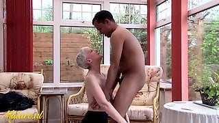 Excited Granny Is In Large Need Of A Hard Ebony Knob