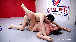 Nude Wrestling Loser Spanked And Takes A Strapon From Mimosa