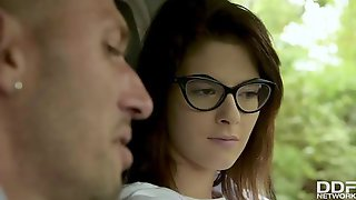 Petite Teen Brunette With Glasses, Sara Bell Is Getting Fucked In The Ass, During A Threesome