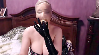 Rubberdoll With Long Hair And Spandex Mask Doing Hand-job And Blowjow Big Salami, Cumshot On Her Big Tits