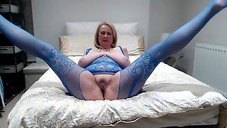 Annabel's Electric Blue Crotchless Fishnet Bodystocking - Daniella English