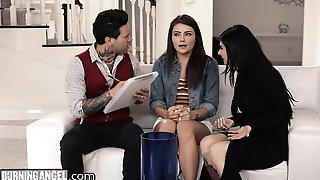 Adria Rae, Joanna Angel And Small Hands In Babysitter Fucked By Pervert Emo Couple