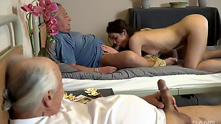 Old Men Share Teen Pussy For Restless Orgasms