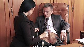 Office Threesome With Gorgeous Busty Ania Kinski