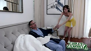 Family Strokes - Perky Busty Hot And Horny Nymph Teen Gives Old Man A Helping Hand