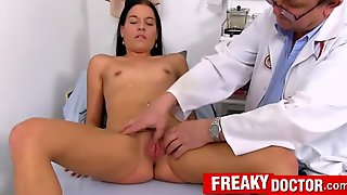 Evelin Dellai And Eveline Dellai - Hot Czech Brunette And Freaky Doctor Gyno