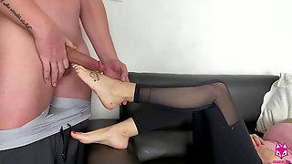 Footjob Got Muddy After He Bangs My Feet - Brooke Foxxx - Cute Feet, Cumshot