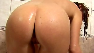 Dark-haired Teen With Beautiful Natural Tits Playing With Her Wet Pussy