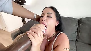 Racy Honey, Monica Is Inhaling A Humungous, Black Meat Stick While Getting Down On All Fours On The Floor