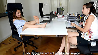 Foot Size Rivalry And Comparing On Workplace (office Feet, Thick Feet, Smallish Feet, Foot Taunting, Toes)