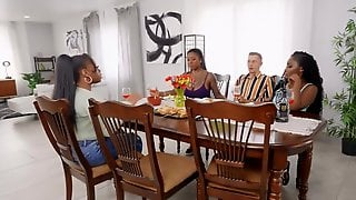Chocolate Lover Manages To Penetrate GFs Stepmother And Bestie