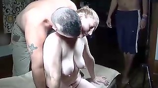 Amateur Blonde With Big Boobs Is Getting Fucked By A Group Of Horny Guys, Late At Night