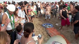 Drunk Party Girls In Sexy Bikinis At The Beach