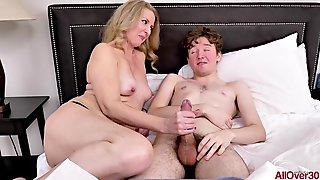 Blonde Stepmom MILF Teaches Sex For Cum Load