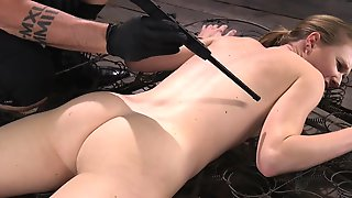 Tied Up Blonde Endures Electro Torture In The Sex Dungeon