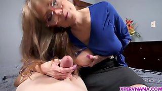 Voluptuous GILF Helps Grandson Jerks His Huge Penis