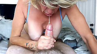 Stepmom Adores Sausage And Takes A Big Cumshot In Her Mouth
