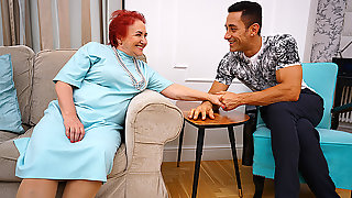 Horny Grandma Sucks Her Muscular Studs Big Cock And Gets Her Old Pussy Thumped