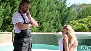 Lewd Serbian Golden-Haired Served Her Plumber With Unfathomable Mouth BJ And Hard Anal Ride