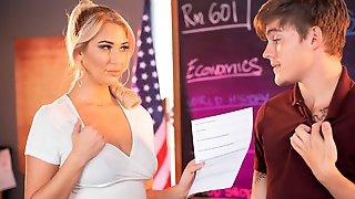 Blonde Teacher Jordan Maxx Wants To Help Her Student Achieve Success...and Erections