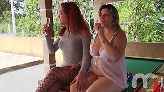 The Red-haired Transsexual Banging The Preggy Golden-haired With Ease.