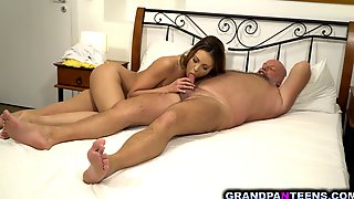 Naughty Babe Akira May Takes On A Mature Old Cock