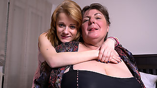 Two Horny Old And Young Lesbians In Action - MatureNL