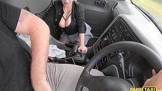 Whorish Blonde Damsel In Stockings Pleasuring Her Taxi Driver