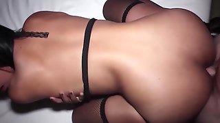 Cute Teenie Thai Ladyboy Female In Sexy Lingerie And High Heels Gives A Nice Handjob And Blowjob