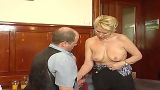 Blonde Granny Is About To Get Banged And Fisted Hard On The Table, In The Restaurant