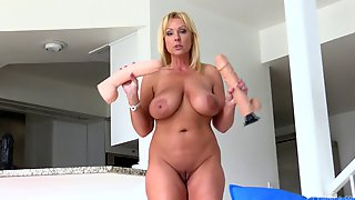 Sublime Blonde With Large Boobs Pushes All Of Her Fingers Into Pussy