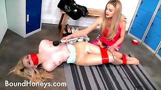 Blonde Enjoys A New Bdsm Workout At The Gym Whilst Tapegagged