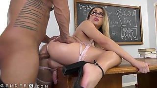 Splendid TRANSfer Schoolgirl Is Just Her Proffessers Type - GenderX
