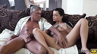Brunette Gets Sperm Of Lover's Dad On Her Pretty With Daphne Klyde