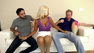 Buxom Cougar Over 40 Brittany Andrews Is Fucked By Two Horny Guys