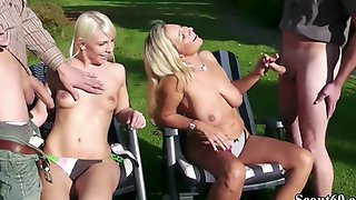 German Mother And Step Daughter Seduce To Fuck By 2 Stranger