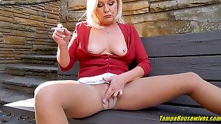 Smoking Sizzling Outdoor Masturbation Blowjob And Doggystyle