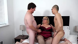 Chubby Ass Old Lady Fucked By Her Man And Their Nephew