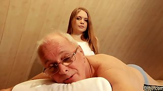 Pretty Hot Young Masseuse Is Quite Busy With Riding Cock Of Old Pervert