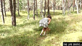 Cute Sadomasochism Brunette Hair Fastened Up As This Babe Masturbates Alone In The Woods