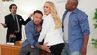 Glamorous Blonde In Stockings Brandi Love Fucked By Blacks