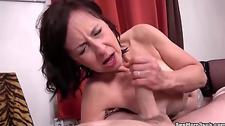 Danina Is Providing A Hand-job To A Much Junior Stud And Listening To His Bellows And Breathes